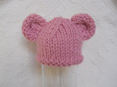 Baby Bear Hat Hand Knitted Pink Knit Newborn by LittleBirdLucy