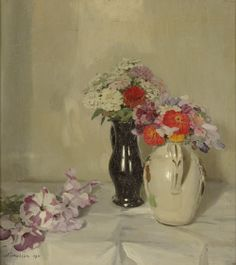 Zinnias by Sir William Nicholson, an oil painting from 1911.