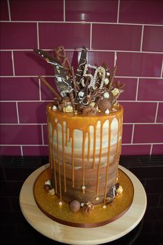 Double barrel Chocolate Salted Caramel Drip Cake with triple chocolate ombre buttercream and chocolate bark