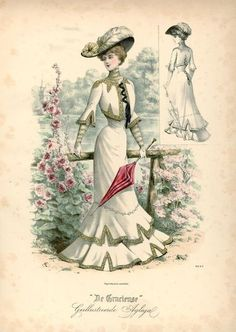 *an edwardian lady - 1902 walking dress pt. the inspiration - dezdemon-fashion-trends. 1900s Fashion, 19th Century Fashion, Edwardian Fashion, Vintage Fashion, French Fashion, Vintage Beauty, Historical Costume, Historical Clothing, Images Victoriennes
