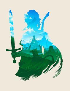 """jefflangevin: """" Zelda: BotW art print https://www.etsy.com/listing/551003009/zelda-breath-of-the-wild-link-silhouette """""""