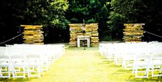 http://pinterest.com/wineinajug/passion-for-pallets/ Upcycled pallets used as wedding ceremony backdrop. Pallet walls like this can be a great party prop, from adding some visual intrigue to a layout to providing the backdrop to everything from nuptials or a photo booth! #Wedding Fever! See close up pics of the walls here http://kcandsara.blogspot.com/2008/07/my-weekend-of-pallets.html