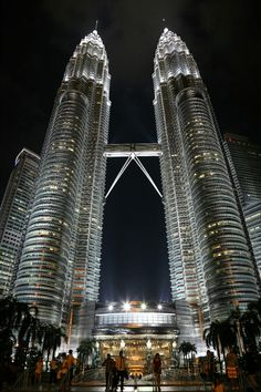 The Petronas twin towers in Kuala Lumpur Malaysia. I think they are seriously the most beautiful skyscrapers in the world.