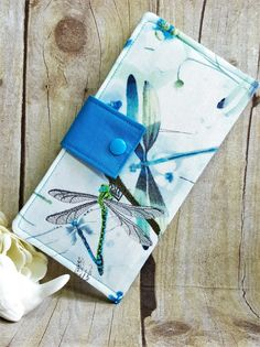 Womens Wallet with Embroidered Dragonfly, bifold wallet, handmade wallet, fabric wallet, Credit card wallet, Clutch wallet, gift ideas