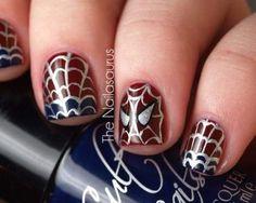 Spiderman nails. Definitivamente a mi hijo le gustaría verme con las uñas así! =)