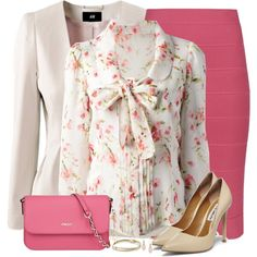 A fashion look from February 2015 featuring RED Valentino blouses, H&M jackets and BCBGMAXAZRIA skirts. Browse and shop related looks.