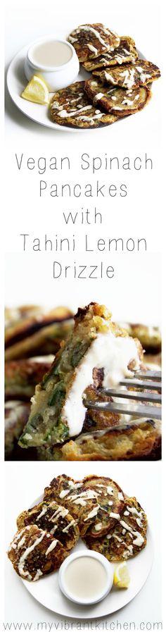 My Vibrant Kitchen | Vegan Spinach Pancakes with Tahini Lemon Drizzle | myvibrantkitchen.com