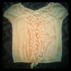 A&F Dressy Blouse Abercrombie & Fitch Dressy Blouse...Size L...gorgeous cream blouse with flower accents and drawstring tie at waist...very feminine and looks amazing on...worn once...in like new condition Abercrombie & Fitch Tops Blouses