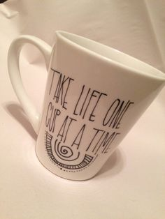 Take life one cup at a time. Live an intentional life: inspiring, customized mugs designed with motivational quotes & affirmations