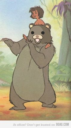 """Baloo with Mowgli in """"The Jungle Book"""" - voiced by the inimitable Phil Harris Walt Disney, Disney Nerd, Disney Films, Disney Magic, Disney Pixar, Disney Characters, Disney Fun, Baloo Jungle Book, Pedobear"""