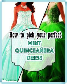 Mint Quinceanera gowns - Quinceanera is a tradition which originally arrived out of the Latin America, and it signifies the Girl's transformation from a kid to an adolescent. Mint Quinceanera Dresses, Young Female, Different Patterns, Adolescence, Body Types, Fancy, Latin America, Dress Ideas, Kid