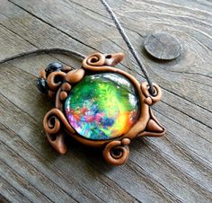 FREE SHIPPING Turtle Psychedelic Pendant Psytrance Psy Blacklight UV Reactive Hippie Nature Jewellery Tribal Gypsy Glow Pixie Fairy Necklace...