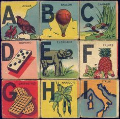 Abc Blocks, French words, vintage illustrations