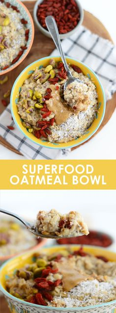 Oatmeal never looked so good. Make this Healthy Superfood Oatmeal Bowl that's loaded with fiber, antioxidants, and a hint of Pure Canadian Maple Syrup. #FitMaple
