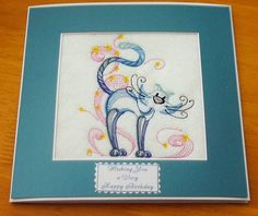 complete embroidered Birthday card Quirky Elegant Cat (a)