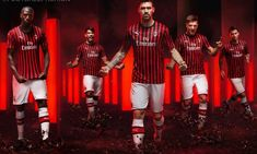 Former world and European football club champions AC Milan debuted their PUMA home kit during Sunday's Italian Serie A match with relegated Frosinone. Ac Milan Kit, World Soccer Shop, Football Fashion, European Cup, European Football, Champions, Club, Christmas Sweaters, Punk