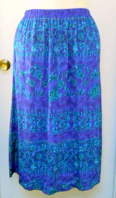 Maggie Barnes Deep Blue Skirt 18W Plus Turquoise Green Flowers Leaves Resort  #MaggieBarnes #FullSkirt