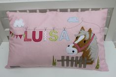 Pillow with name pillowcase pillow birth baby pillow case pillow personalized horse pony cuddle pillow children's pillow baby pillow – Baby Pillow Case Cuddle Pillow, Baby Pillows, Kids Pillows, Baby Sewing Projects, Sewing Projects For Beginners, Diy Back To School, Sewing To Sell, Baby Quilts, Etsy