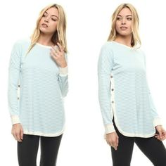 This ribbed striped top is a great casual Sunday shirt to sport with jeans!  Love the soft look and feel!  Cute little buttons on sides!  Shop: https://www.shoppinwithsailin.com/collections/tops/products/light-blue-ribbed-striped-top?utm_content=buffer63d79&utm_medium=social&utm_source=pinterest.com&utm_campaign=buffer  Please note the arms run a little tight Size: Small 0/2/4/6, Medium 8/10, Large 10/12 50% Polyester 48% Rayon 2% Spandex Hand Wash Cold/Line Dry Made in USA FREE SHIPPING!!!
