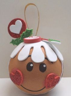 Ornies decorated with paint and foam shapes, add a little glitter to make it sparkle! Gingerbread Crafts, Christmas Gingerbread, Noel Christmas, Homemade Christmas, Gingerbread Men, Painted Ornaments, Diy Christmas Ornaments, Christmas Projects, Holiday Crafts