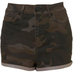 MOTO Camo Print High Waist Hotpants ($23) ❤ liked on Polyvore featuring shorts, bottoms, pants, short, khaki, high waisted hot shorts, short shorts, camo short shorts, short khaki shorts and high waisted khaki shorts