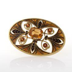 Art Nouveau Gold, plique-à-jour enamel brooch Brooches Jewelry Antique Jewelry Tiffany Lamps Art Nouveau