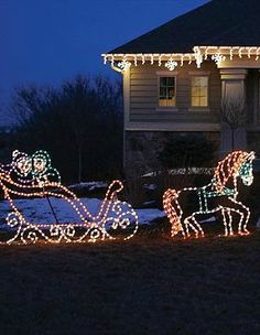 Delight guests and passersby alike this holiday season with the Lighted Victorian Horse and Sleigh that sets a festive scene in your yard with over 500 bright, glowing lights.