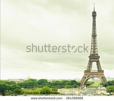 Effel Tower at Paris with copy space for any text at cloud background