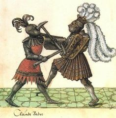 Period depiction of two heavy armored knights dueling. Both of them carried hand pavise.