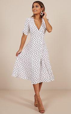 Yesterdays Story Dress in white print | Showpo
