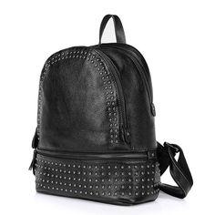 Mochilas de piel de estilo nuevo 2016 con remaches baratas bolsos de mujeres negras [AL93123] - €61.77 : bzbolsos.com, comprar bolsos online