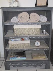 Turn a dresser into a shelf and with French scroll  I'm totally doing this for my dining room w/tea cups and cook books!