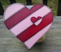 Valentine Striped Heart Cookie Jar Lid by MTDesignsCrafts on Etsy