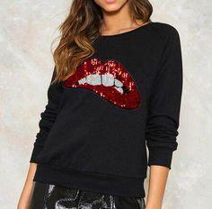 Lip sequin sweatshirt black pullover for teenage girls