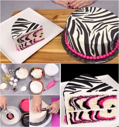"""Pink Zebra Cake Recipe - pinned from CAKE DECORATING - A pin category from Byrna Luyben-Cronk, please note that this woman's pin's include many tips and instructions for a myriad of cake design(s)"" Cookies Cupcakes And Cardio, Cupcake Cookies, Cake Decorating Tips, Cookie Decorating, Torta Zebra, Torta Animal Print, Pink Zebra Cakes, Zebra Birthday Cakes, Zebra Print Cakes"