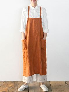 Japanese Dress Sleeveless Strap Linen Apron Solid Dress with Pockets Hooded Trench Coat, Faux Fur Hooded Coat, Fashion Vestidos, Vintage Dresses Online, Linen Apron, Vestidos Vintage, Apron Dress, Retro Dress, Retro Apron