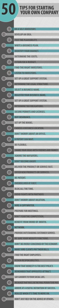 50 #tips for starting your own #company ..