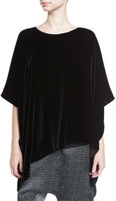 Eileen Fisher Asymmetric Velvet 3/4-Sleeve Poncho, Black https://api.shopstyle.com/action/apiVisitRetailer?id=602503157&pid=uid2500-37484350-28