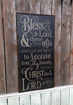 Rustic Wedding Gift Pallet Bless Us Oh Lord Dinner