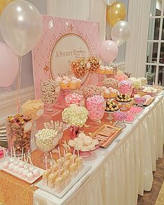 Valentines Day Party Valentinesday Baby Shower Candy Table Pink
