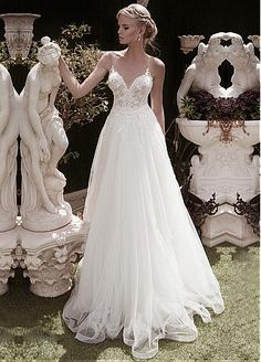 Buy discount Elegant Tulle V-neck Neckline A-line Wedding Dresses With Beaded Lace Appliques at Dressilyme.com
