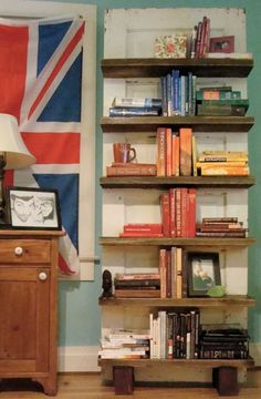 "bookcase made from old door...we have a ""few"" to spare"