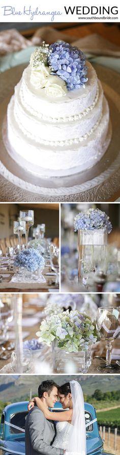 Blue Hydrangea Wedding | SouthBound Bride www.southboundbride.com/blue-hydrangea-wedding-by-leanne-love-nikki-lloyd Credit: Leanne Love