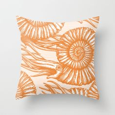 AMMONITE COLLECTION ORANGE Throw Pillow by Chicca Besso - $20.00