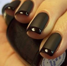 Black matte nails- LOVE the mix of matte and shiny!!