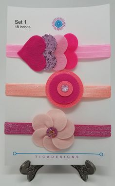 You will get 3 headbands. Please select from the sets shown in the pictures (more sets coming soon): Set 1 - Pink Size: 18 inches, recommended for a Child or an Adult. This is an accessory for special occasions or everyday! This item contains parts which may present a choking