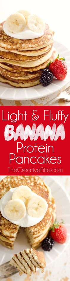 Light and Fluffy Banana Protein Pancakes are a healthy breakfast with five simple ingredients that taste amazing and fill you up! Egg whites protein powder and ripe bananas make up these low-fat and low-carb pancakes for a complete and wholesome meal under 200 calories. #Vegetarian #LowCarb #Healthy