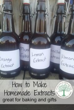 Make your own extracts for delicious baking and gift giving! The possibilites are endless, and the recipes are easy to follow! The Homesteading Hippy #homesteadhippy