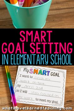 Student Goal Setting in Elementary School - Learn to set SMART goals, create action plans, and celebrate achievements. Students take control of their learning in small manageable ways. Goal Setting For Students, Smart Goal Setting, Student Teaching, Teaching Tips, Teaching Art, Student Goals, Classroom Behavior, Classroom Management, Student Motivation