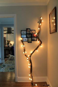 Loooooooove the look of this...Plus there's no such thing as too many twinkle lights in the house!
